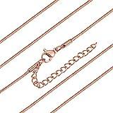 ChainsHouse Collar de Serpiente Oro Rosa de Ley Mujer 45cm Gargantilla de Cadenas Redondas con...