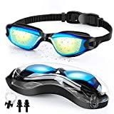 Swim Goggles   Swimming Goggles   No Leaking Anti Fog UV Protection Triathlon with Nose Clips + Ear Plugs,Swim Goggles for Women Men Adult Youth