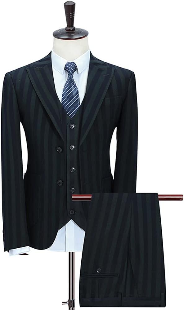 UXZDX CUJUX (Jacket+Pants+Vest) Mens Suits with Pants Stripe Men's Blazer Slim Fit Wedding Male Groom Tuxedos (Color : Stripe, Size : XL 63-67kg)