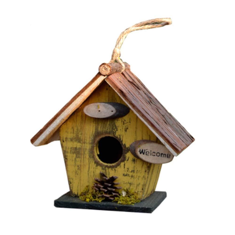 Casa del pájaro del jardín Pajarera de madera al aire libre Campanario retro Decoración colgante creativa