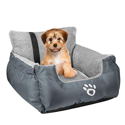 FRISTONE Hunde Autositz Kleine Hunde Sicherheit Hundsitz, Dackel Bulldogge Reisebett Erhöht Autositze, mit Clip-on-Sicherheitsleine und Lagerung Tasche, Grau