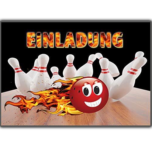 12 Bowling-Einladungen Set Geburtstagseinladungen Kinder Mädchen Jungen Bowling-Einladungskarten Kindergeburtstag Bowlingparty Geburtstag Kegeln Kegel bowlen