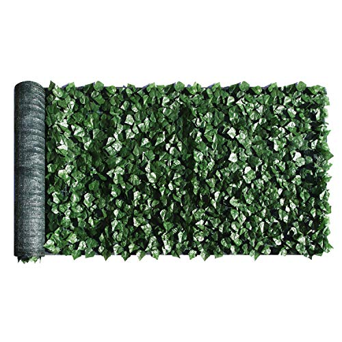 ColourTree 3' x 12' Artificial Hedges Faux Ivy Leaves Fence Privacy Screen Cover Panels  Decorative Trellis - Mesh Backing - 3 Years Full Warranty