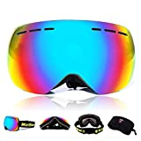 Men's Ski Goggles Double UV400 Anti-fog Big Ski Mask Glasses Skiing Women Snow Snowboard Goggles New Design (Black Frame)