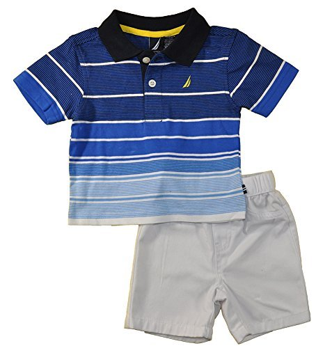 Nautica Baby Boys S/S Blue Striped Polo 2pc Short Set (3/6M)