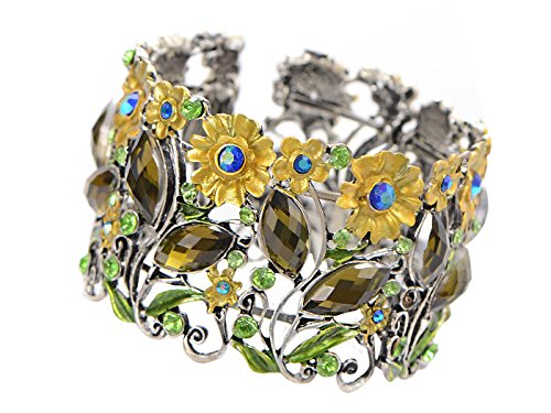 ALILANG Frauen Antik Vintage Süß Blumen Garten Strass Kristall Natur Armband Armreif