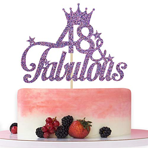 Purple Glitter 48 & Fabulous Cake Topper - 48th Birthday Cake Decorating - Happy 48th Anniversary/Birthday Party Decoration Supplies