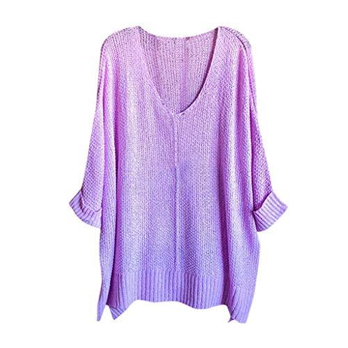 ReooLy Suéter de Mujer con Cuello en V Color sólido suéter de Punto Suelto Mujer(Púrpura,XL)