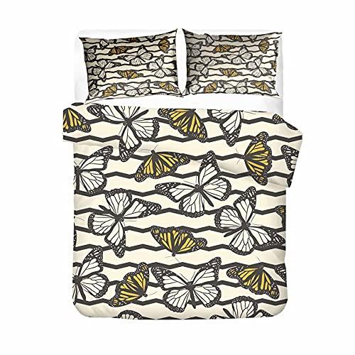 M/X Estampado De Mariposas Juego De Funda Nórdica Diseño De Estampado De Insectos Juego De Cama Conjunto De 3 Piezas Hoja Funda De Almohada Double/King/Super King (220x240cm(4piezas),1)