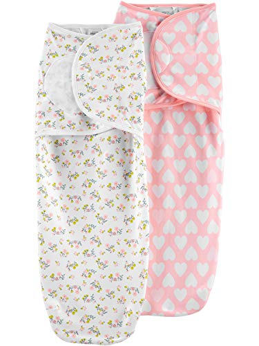 Simple Joys by Carter's Girls' 2-Pack Cotton Swaddle Blankets, Pink/White, Floral/Hearts, 0-3 Months