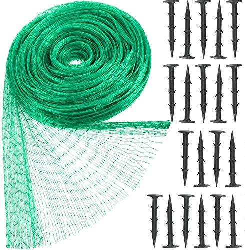Hywean Red para Pájaros, Red para Estanque Multiusos Malla de Protección de PE para Frutas, Plantas, Verduras, Jardín, 20 Clavos de fijación de plástico (Verde, 1,5x1,5 cm Agujeros) (verde4)
