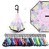 Sumeber Regenschirm Double Layer Inverted Automatikschirm, C-Form Griff Reverse Taschenschirm, Anti-UV-Windschutz-Regenschirm mit Tragetasche (Windmill)