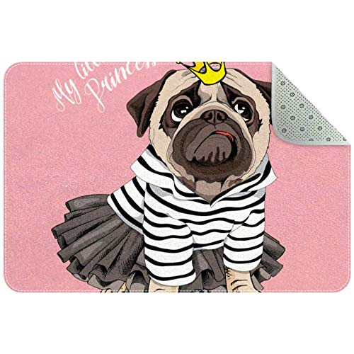 Rectangle Office Chair Mat for Low Pile Carpet, Floor Mat for Front Back Door, Inside Machine Washable Floor Mat Funny Cartoon Dog Pug Crown My Little Princess