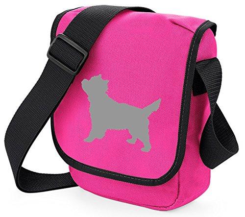 Cairn Terrier Hundetasche Reporter Tasche Schultertasche Cairn Silhouette Cairn Terrier Geschenk Farbauswahl, Pink - Graue Hundetasche, Pink - Größe: Small/Medium