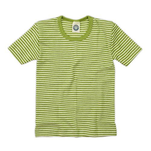 Cosilana Kinder Unterhemd 1/4 Arm, Farbe Geringelt Grün-Natur, Größe 140 Wollbody®
