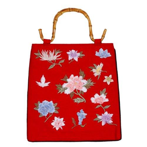 Tasche aus Leinen, mit Bambushenkel, bestickt, Handtaschen Bambus, Damentaschen, Asiatisch, 6596