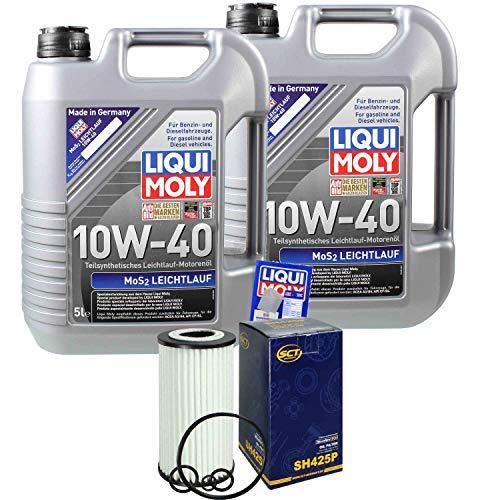 Preisvergleich Produktbild Filter Set Inspektionspaket 10 Liter Liqui Moly Motoröl MoS2 Leichtlauf 10W-40 SCT Germany Ölfilter