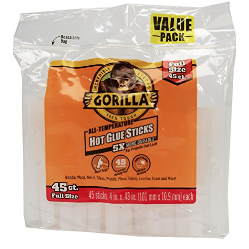 Gorilla 3034518 Hot Glue Sticks, 4 in. Full Size, 45 Count, 1 Pack