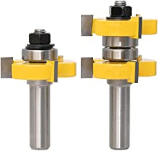 Yakamoz 1/2 Inch Shank Adjustable Tongue and Groove Router Bit Set 1-1/2