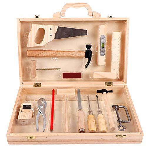 Werkzeugkoffer Kinder, Holz Werkzeugkasten Kinder, Werkzeug-Set Handwerker, Werkzeug Kinder Spielzeug