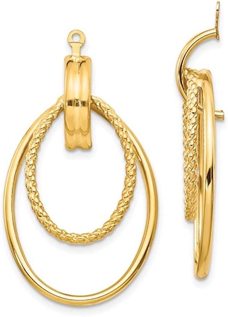 14k Yellow Gold Polished Oval Double Hoop Earring Jackets