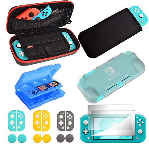 Accessories for Nintendo Switch Lite - 18 Pieces Accessories Bundle with Carry Case,Soft Pouch,TPU Cover,2 Tempered Glass Screen Protector,Thumb Grips Caps and More for Nintendo Switch Lite
