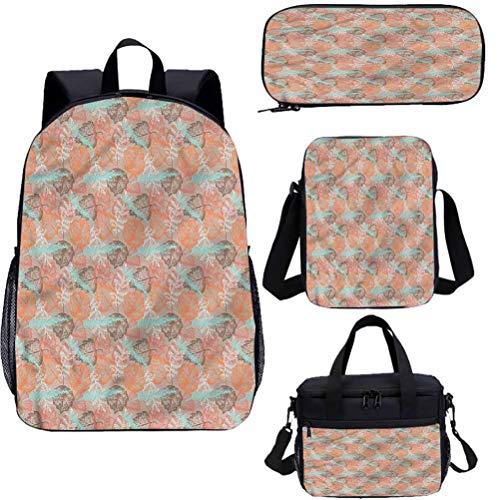 Autumn Fall 17' School Backpack & Lunch Bag Set,Vintage Leaf Pattern Bookbags 4 in 1