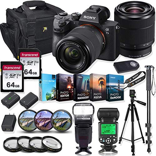Sony Alpha a7 III Mirrorless Digital SLR Camera with 28-70mm Lens Kit + Prime TTL Accessory Bundle with 128GB Memory & Photo/Video Editing Software