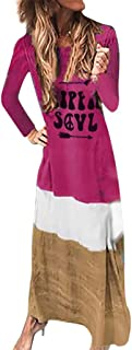 OTTATAT Casual Long Dress for Women,2019 Autumn Winter Ladies Crewneck Stylish Tie-Dyed Color Block Patchwork Basic Tops