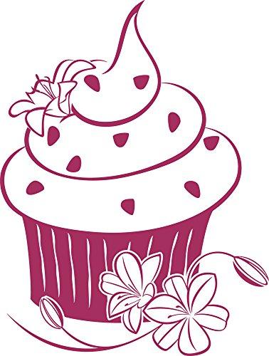 GRAZDesign Kühlschrank Aufkleber dekorieren Muffin - Wandsticker Küche Cupcake - Wandtattoo Küche Blumen / 40x30cm / 821 Magnolia