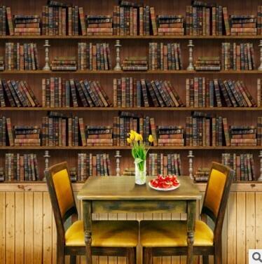Kat vrouw muurstickers, D boekenplank muurstickers behang slaapkamer poster muurschildering PVC retro boekenkast imitatie muurstickers thuis d67x150cm