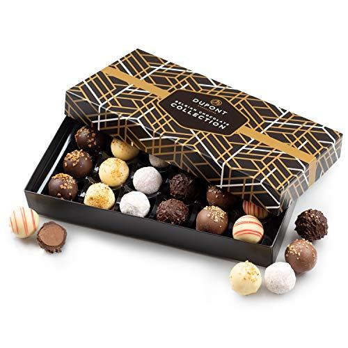 Chocolats truffes Belgique - cadeau Noel ballotin chocolat assortiment DuPont Chocolatier. Chocolats blanc, noir. pralines, ganache, bonbons cadeau d'anniversaire