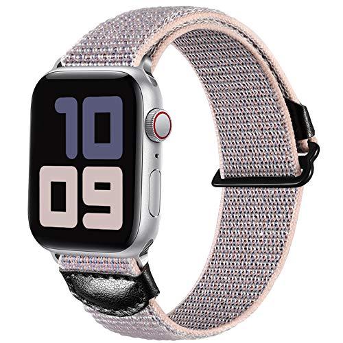 JUVEL Kompatibel mit Apple Watch Armband 38mm 40mm 42mm 44mm, Weiche Nylon Gewebe Sport Schlaufe Ersatz Armbänder Kompatibel für iWatch SE/iWatch Series 6/5/4/3/2/1, 38mm/40mm, Sandpink