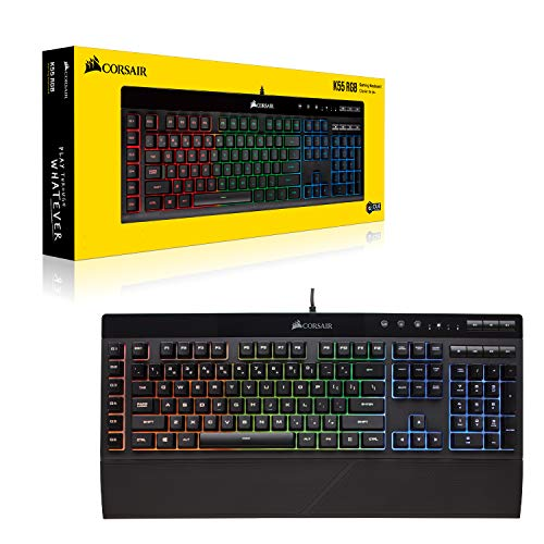 Corsair K55 RGB Gaming Keyboard – IP42 Dust and Water Resistance – 6 Programmable Macro Keys – Dedicated Media Keys - Detachable Palm Rest Included