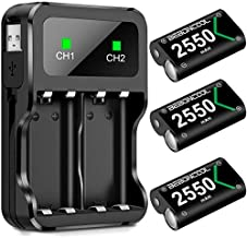 Controller Battery Pack for Xbox One/Xbox Series X|S, Rechargeable Battery Pack for Xbox Series X|S/Xbox One/Xbox One S/Xbox One X/Xbox One Elite Controller, Battery Charger with 3x2550 Battery Pack