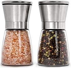 Premium Stainless Steel Salt and Pepper Grinder Set of 2 - Adjustable Ceramic Sea Salt Grinder & Pepper Grinder - Short Glass Salt and Pepper Shakers Pepper Mill & Salt Mill with Free Funnel & EBook