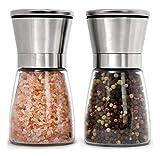Premium Stainless Steel Salt and Pepper Grinder Set of 2 - Adjustable Ceramic Sea Salt Grinder & Pepper...