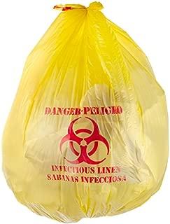 Yellow Infectious Linen High Density Isolation Medical Waste Bag/Biohazard Bag 17 Microns - 200/Case 44 Gallon 37