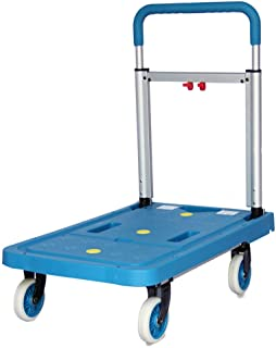 Carrying A Silent Trolley, Pull Truck Folding Flatbed Household Four-Wheeler Size 68 * 41 * 78CM, 68 * 41 * 82CM, 68 * 41 * 92CM (Color : Blue, Size : 68 * 41 * 78CM)