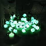 Halloween Grüne Augapfel-Lichterkette mit Fernbedienung, 30 LEDs Batteriebetrieben Wasserdicht Augapfel-Lichter mit 8 Beleuchtungsmodi für Halloween Party Indoor Outdoor Garten Yard Dekorationen - 2