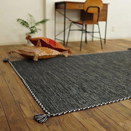 サヤンサヤン 手織り キリム調 アジアン ラグ マット キーマ 90x130 1畳 グレー インド
