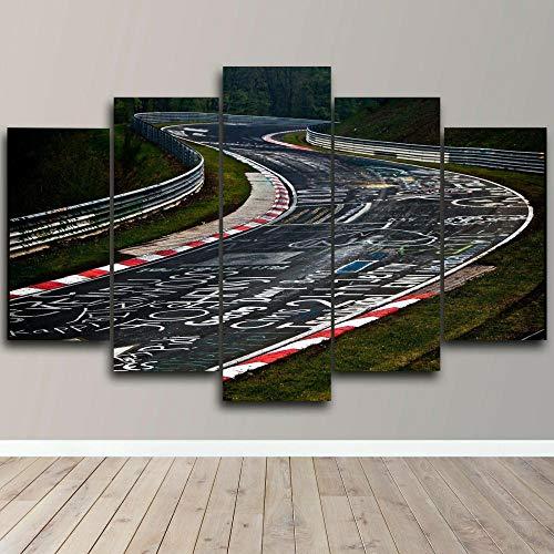 Impresiones En Lienzo 5 Piezas Cuadro Moderno En Lienzo Decoración para El Arte De La Pared del Hogar Carro de pista de circuito de Nurburgring 150×80 Cm HD Impreso Mural (Enmarcado)