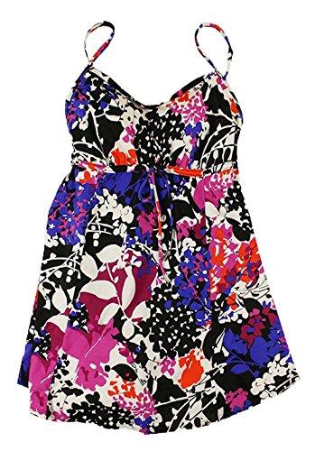 Swim Solutions Women's Vintage Floral One-Piece Swimsuit Swim-Dress, Blue/Multi, Plus Size 16W