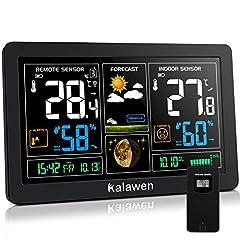 Kalawen weerstation met buitensensor binnen en buiten 9-IN-1 radio weerstation met kleurendisplay Digitale DCF radioklok thermometer hygrometer regenmeter en tijdweergave voor huishuistuin*