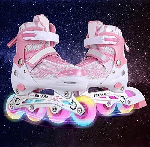 Hesyovy Leucht PU Räder Inline-Skates, Rollerblades für Kinder, größenverstellbar von 31 bis 42, ideal für Anfänger, komfortable Rollschuhe, Inliner für Mädchen und Jungen (Rosa, EU 31-34)