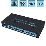 FiveHome 4K@60Hz Répartiteur HDMI 1x4 HDMI Splitter pour Images à Haute résolution, Compatible...