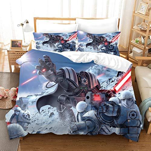 DDONVG Star Wars - Juego de funda nórdica y funda de almohada (135 x 200 cm, 100% poliéster, 135 x 200 cm), diseño de Star Wars