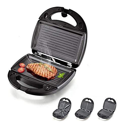 HKDJ Sandwich-Maker voor het hele gezin, multigrill, met verwisselbare grillplaten, anti-aanbaklaag, snel opwarmen, 750 W, roestvrij staal