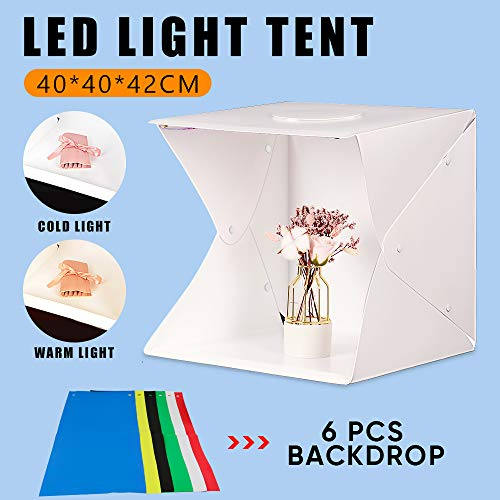 VOLKWELL Portable Photo Studio Foldable Shooting Tent Photography Light box Kit with Top Hole, Adjustable Brightness 2 LED Light Bulbs and 6pcs Color Background (15.7' x 15.7'')