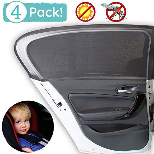 WENTS Auto Sonnenschutz 4 Stück Universal Sonnenschutz Auto mit UV Schutz für Kinder Baby Erwachsene Haustiere Tragbare Auto Sonnenblende Vorhang Sommer, Geeignet für die Meisten Autos